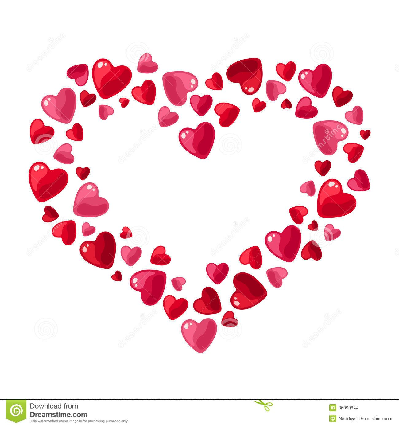 Feliz San Valentín Con Este Contorno De Corazón Hecho Con Corazones