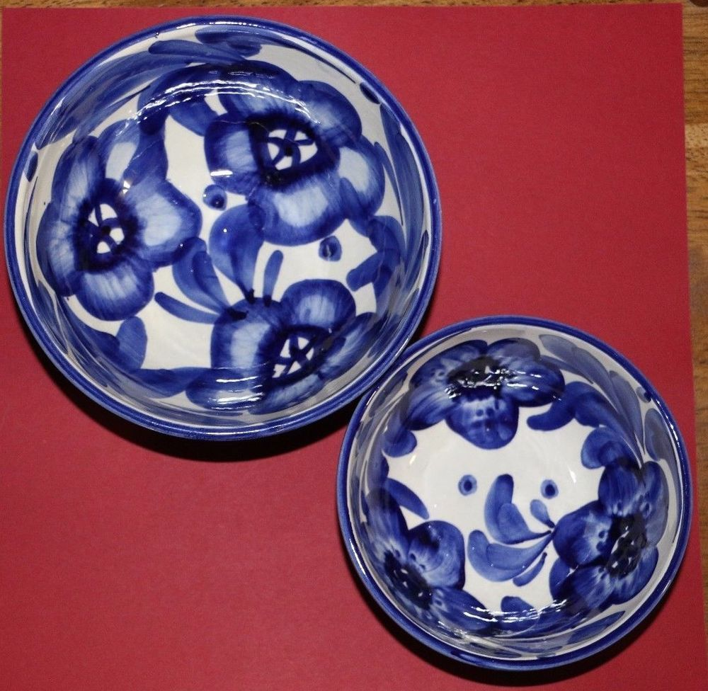 Medium Blue White Floral Bowl Marked Spain Small Blue And White