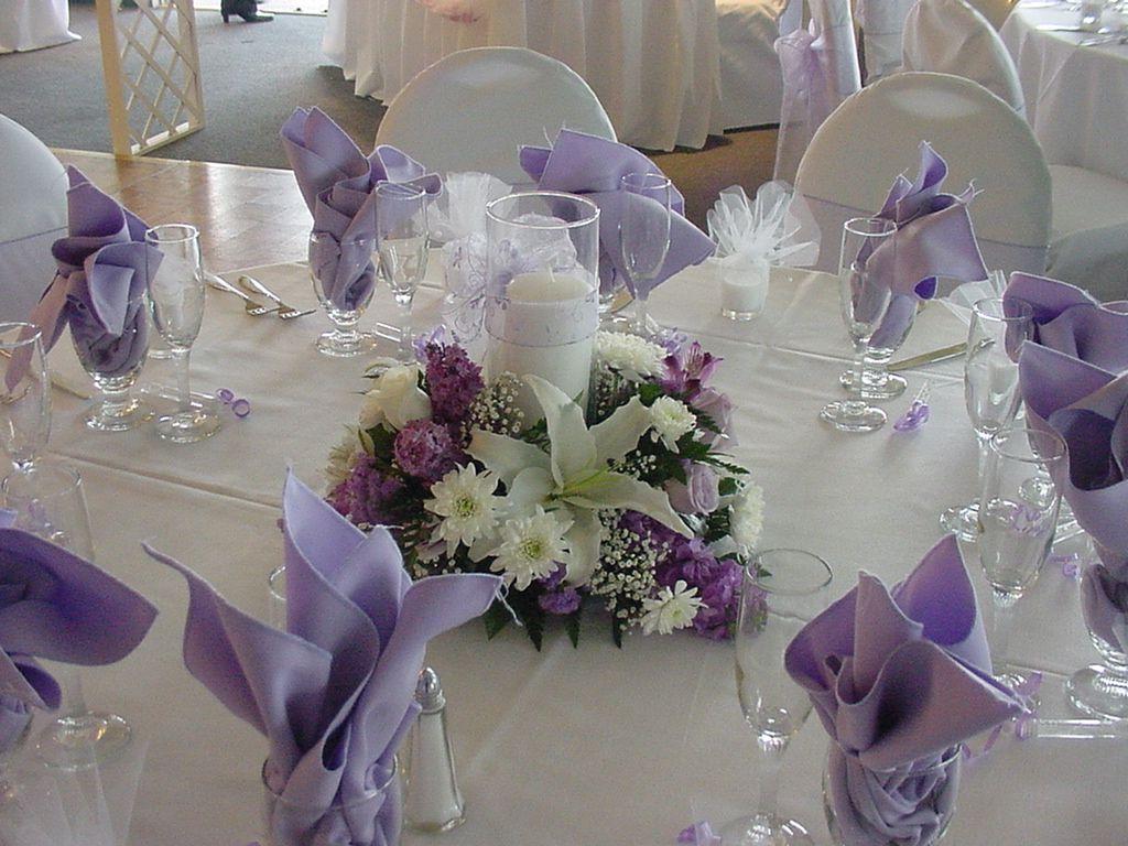 Wedding Table Purple Wedding Reception Table Decor purpleweddingcenterpieces purple wedding centerpieces source cupidsarrowweddings net