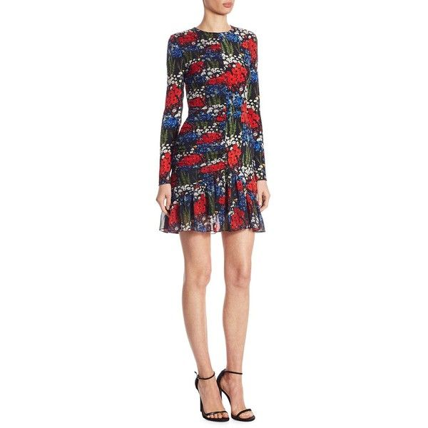Mother of Pearl Peggy Floral-Print Dress ($895) ❤ liked on Polyvore featuring dresses, multi-color dresses, flower print dress, long-sleeve floral dresses, longsleeve dress and floral day dress