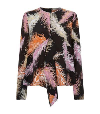 EMILIO PUCCI Feather Print Drape Silk Blouse. #emiliopucci #cloth #