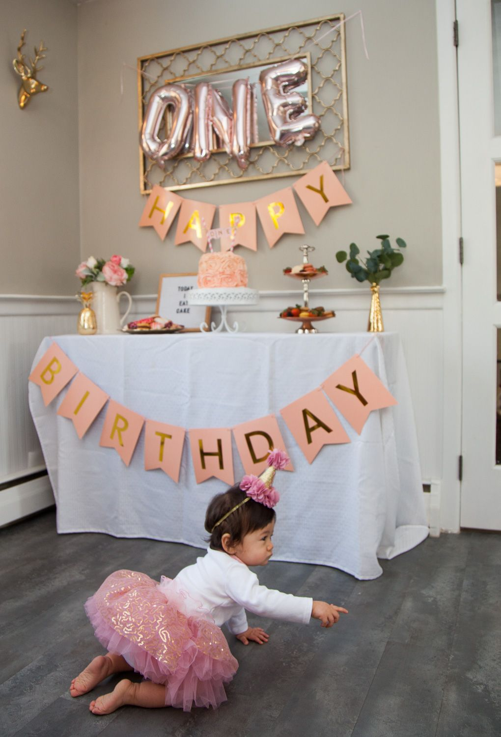 Pink Gold White And Everything Nice Project Nursery Gold First Birthday Outfit Kids Party Decorations Pink Gold Birthday