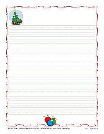Christmas Writing Paper For Kids  Homework Christmas Writing And