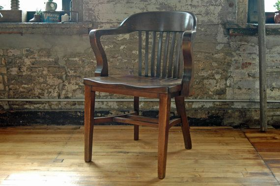 Reserved for Erin: Vintage Wooden Juror Chair Courthouse Chair Office Chair  Library Chair Arm Chair Deco - Reserved For Erin: Vintage Wooden Juror Chair Courthouse Chair