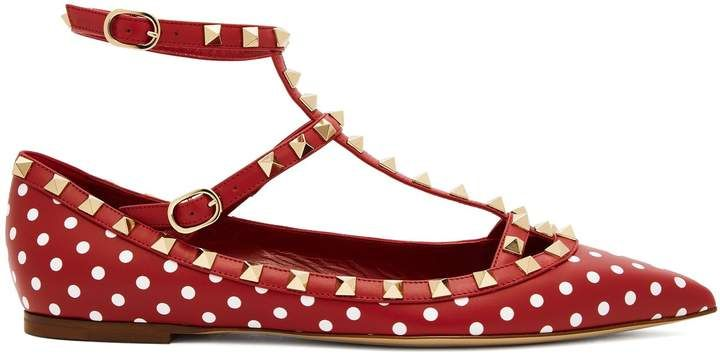 6accd1c1efa5d VALENTINO Rockstud T-bar leather flats red and white polka dot Valentino  flats