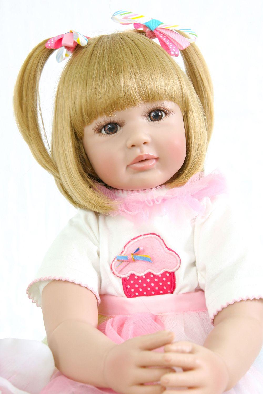 "24/"" Real Life Reborn Toddler Girl Doll Long Hair Handmade Silicone Baby Reborn"