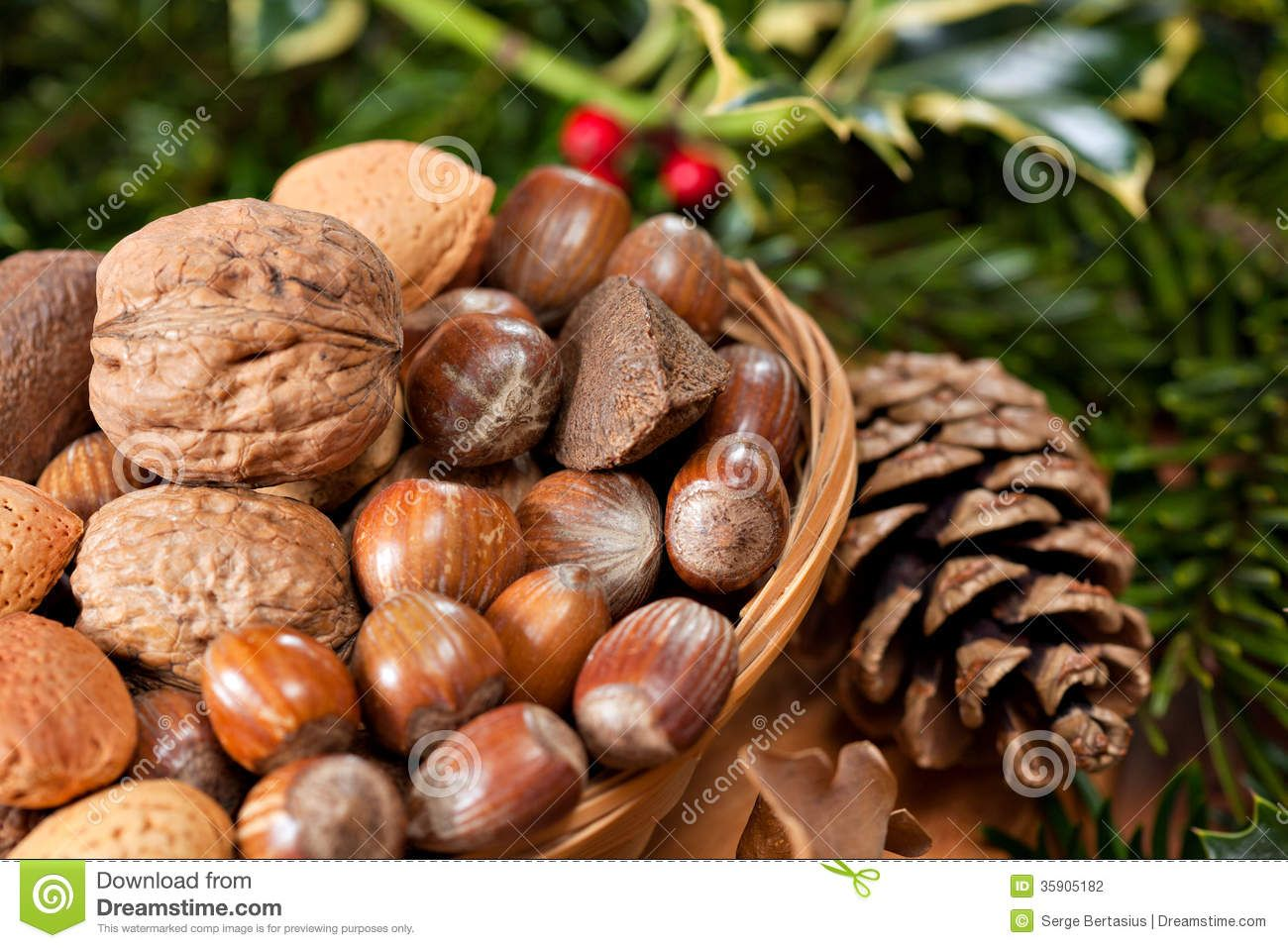 Christmas Nuts | Various Christmas nuts in basket with green twigs decoration.