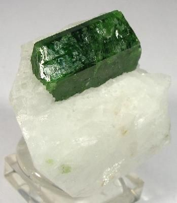 Single crystal of of pargasite, 1.5 cm long, on a matrix of white marble from Hunza Valley, Pakistan.