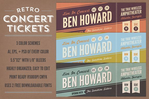 Check out Retro Concert Tickets by everytuesday on Creative Market - concert ticket invitations template