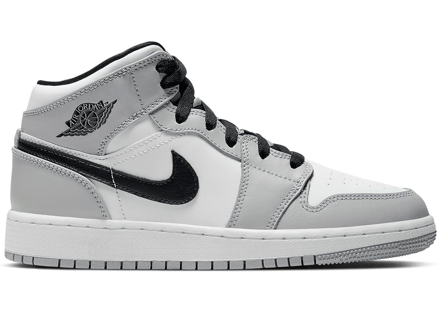 Jordan 1 Mid Light Smoke Grey Gs Jordan Shoes Girls Jordan 1 Mid Sneakers