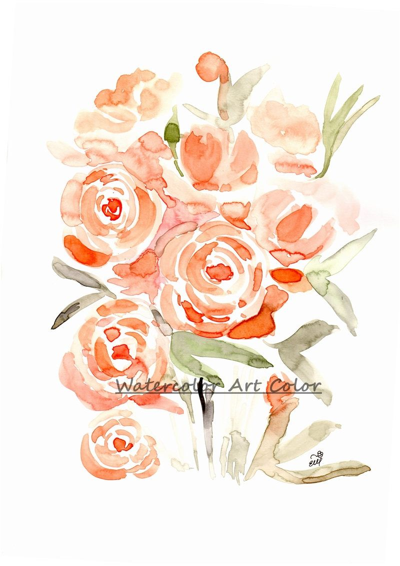 Watercolor Painting Flower Bouqet Printable Wall Art Floral