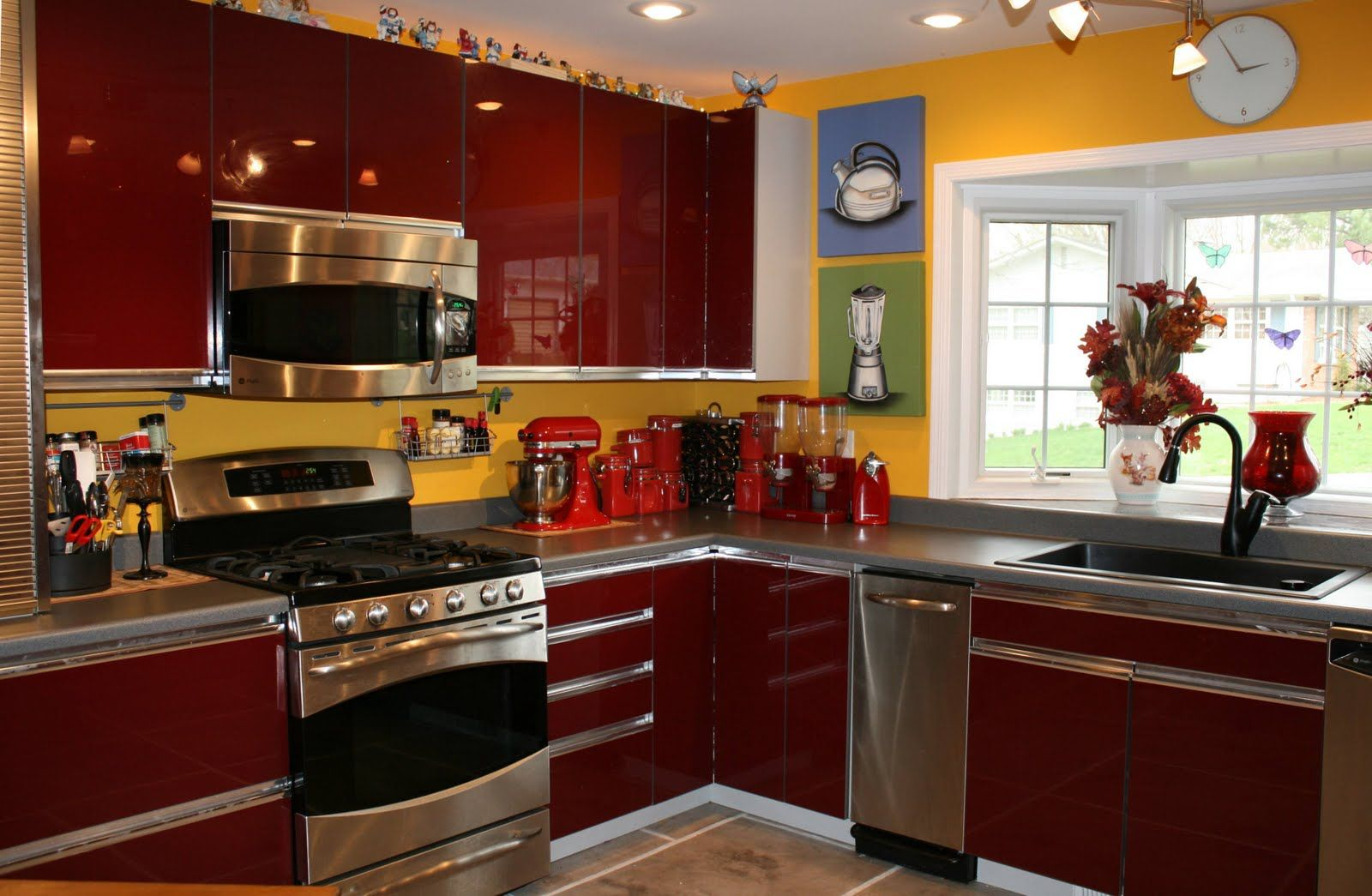 kitchen fantastic red rich hi gloss kraftmaid kitchen cabinet with ...