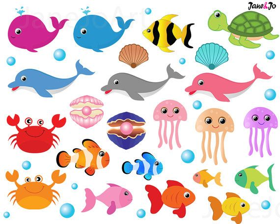 50 offsale sea animal clipart sea animals clipart sea creatures rh pinterest com sea animals clipart black and white sea animal clipart