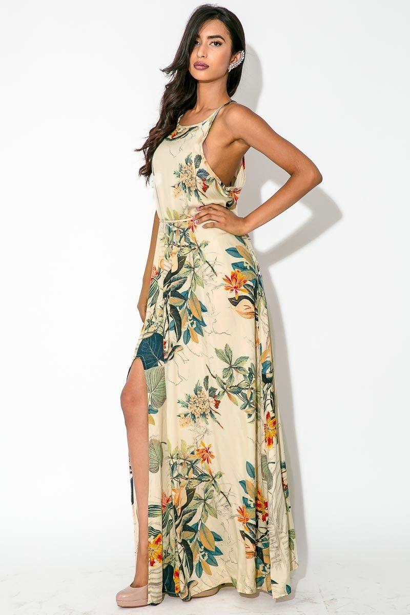 Vestido longo floral viscose