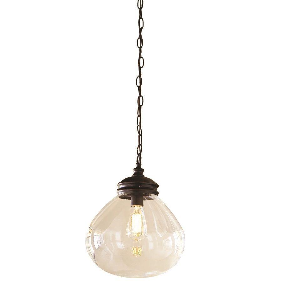 Shop allen + roth Bristow 12-in W Oil-Rubbed Bronze Pendant Light with - Shop Allen + Roth Bristow 12-in W Oil-Rubbed Bronze Pendant Light