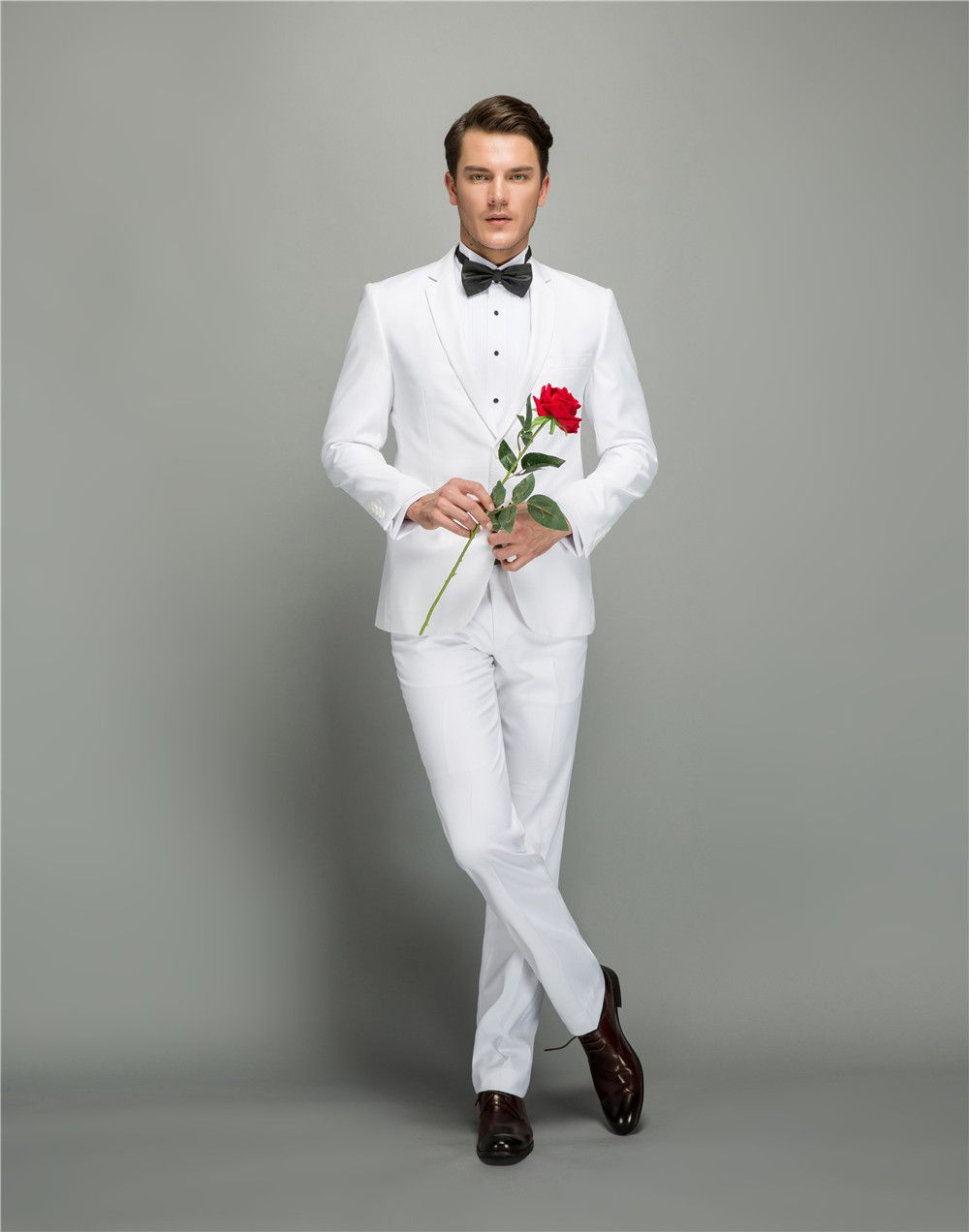 Wool solid white tailor made suits plus size casual wedding dress