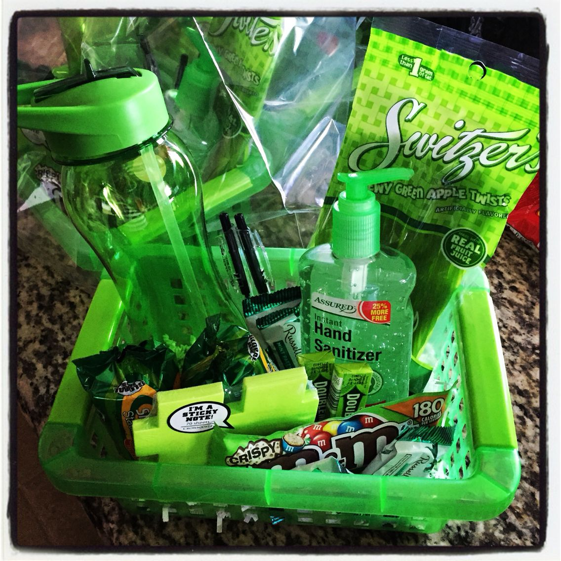 Green Themed Basket - I\'m using as a gift for the office staff at ...