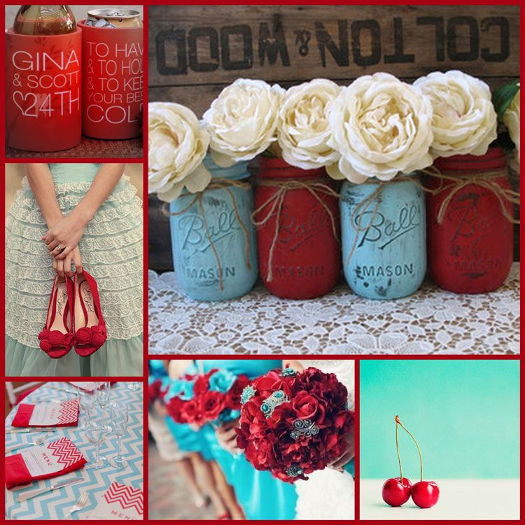 Aquamarine And Red Table Decorations