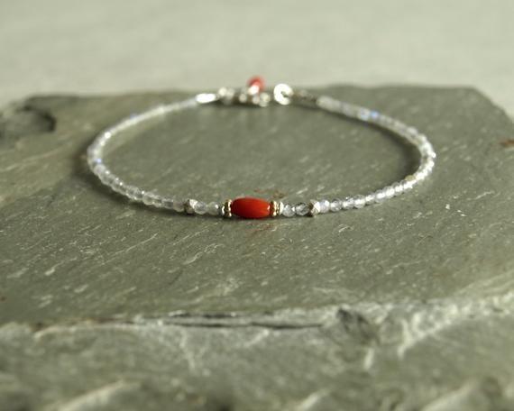 Photo of Italian red coral bracelet, small labradorite gems, sterling beads, minimal, dainty jewelry women's gift