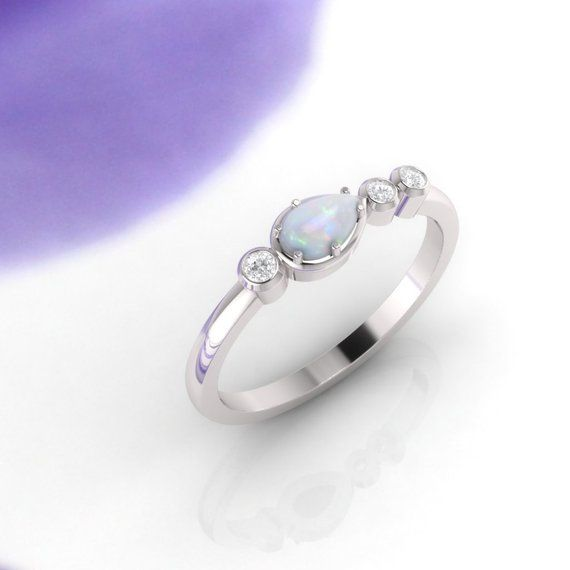 Opal And Diamond Ring Engagement Ring Eternity Ring Opal Ring
