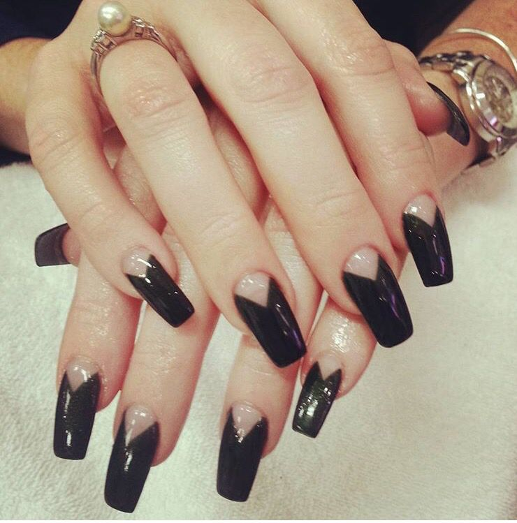 Chevron Half Moon Gel Polish With Coffin Shape Nails Gel Nails French Glitter Gel Nails Witchy Nails