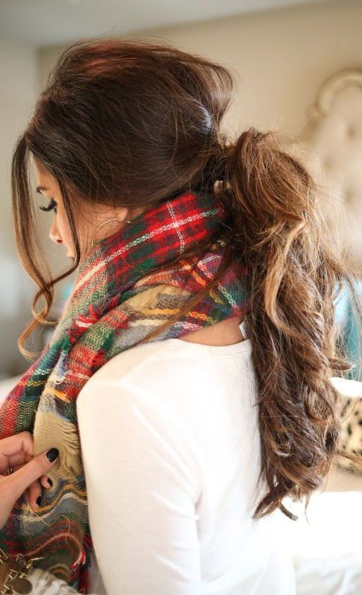 #winter #fashion / tartan scarf (With images)   Fall hair ...