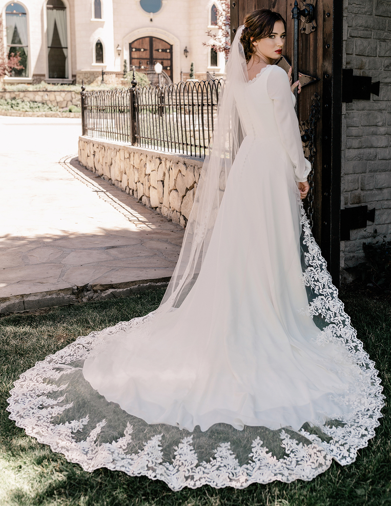 Royal Cathedral Wedding Veil with Partial Lace enVogue