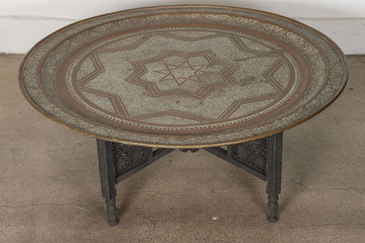 Moroccan Round Brass Tray Coffee Table At 1stdibs Round Tray Coffee Table  Coffee Tables