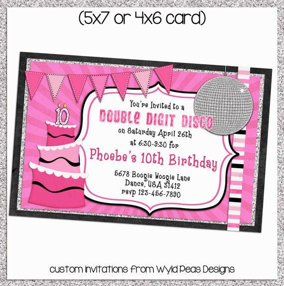 Disco Double Digit Birthday Party Digital Invitations 5x7 Or 4x6