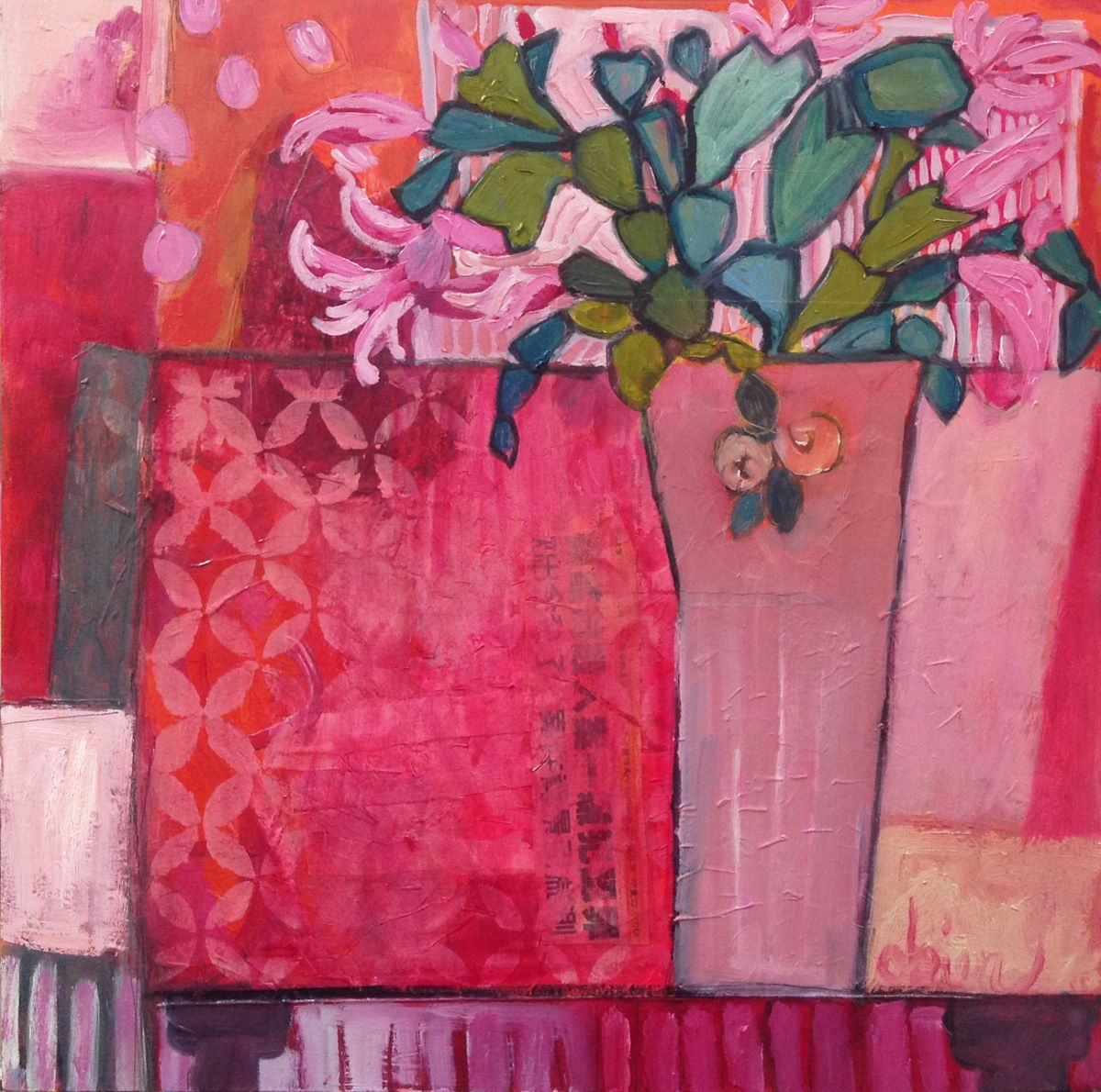 Gypsy table by annie obrien gonzales art of flower vases still life artists international contemporary expressionist still life art painting gypsy table by santa fe artist annie obrien gonzales reviewsmspy
