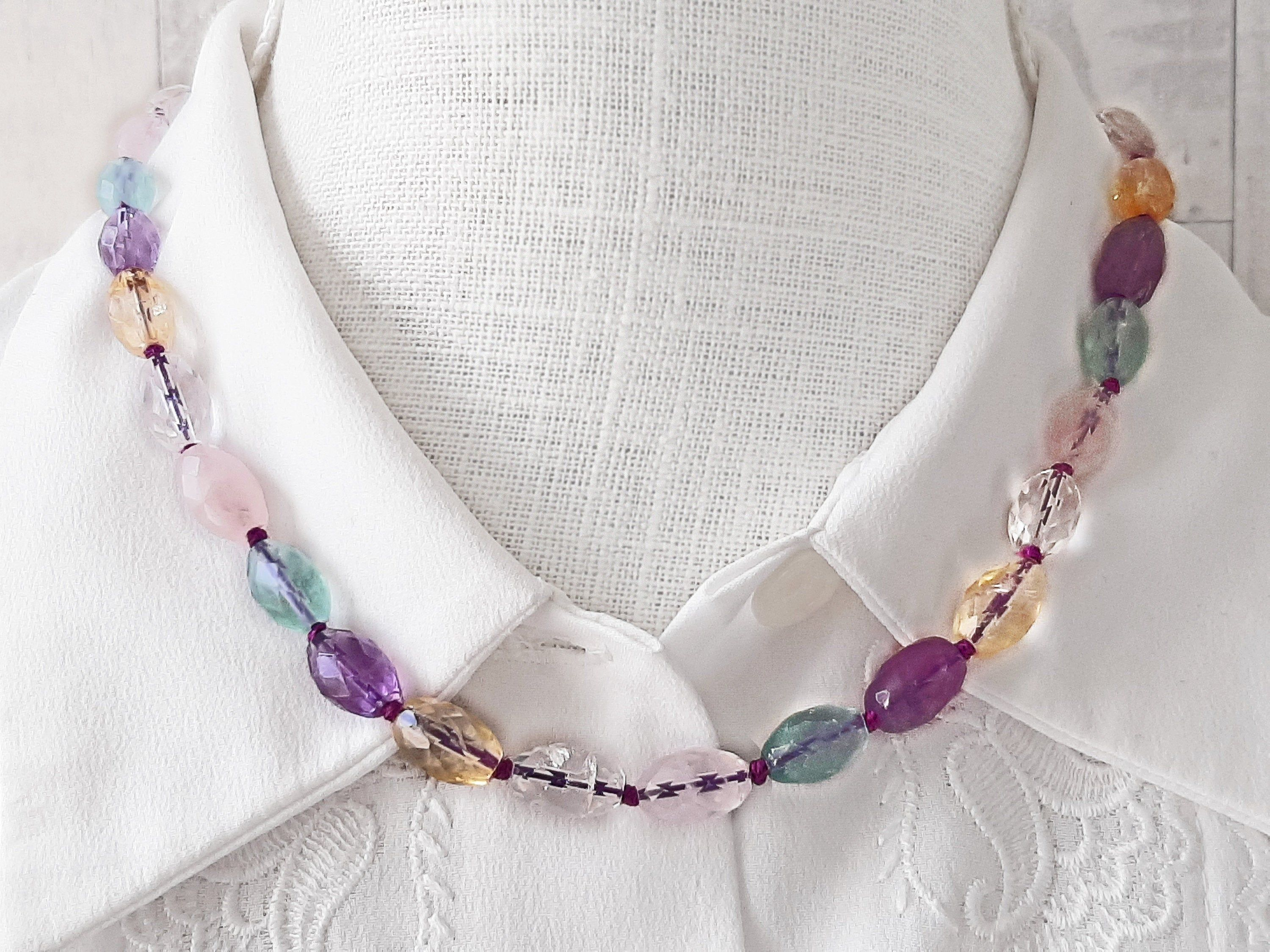 Semi Precious Natural Beads necklace 925 Silver And Gold Filled beads