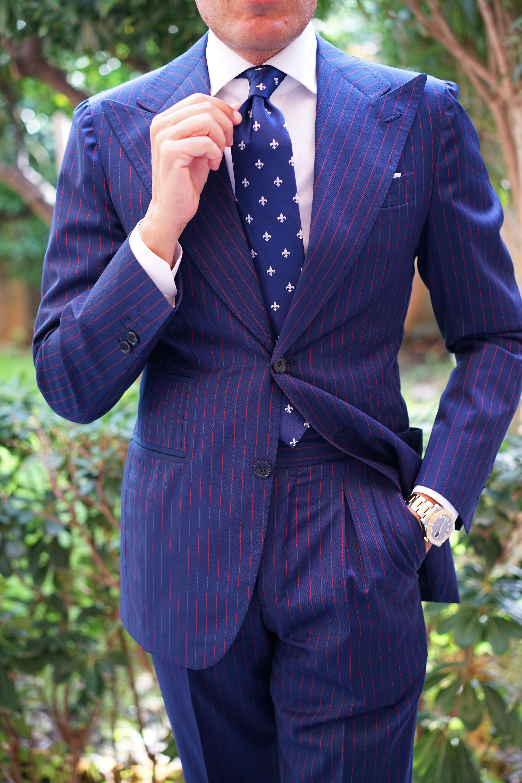 Vintage 60s 70s Mens Wide Tie Fleur De Lis Pattern