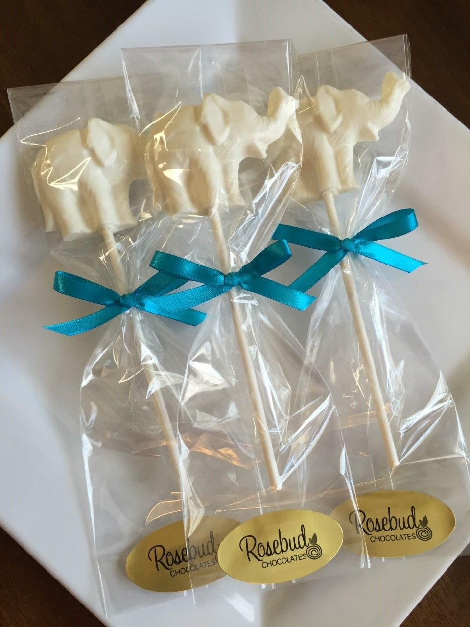 White Chocolate Elephant Lollipops Baby Shower Favors Birthday