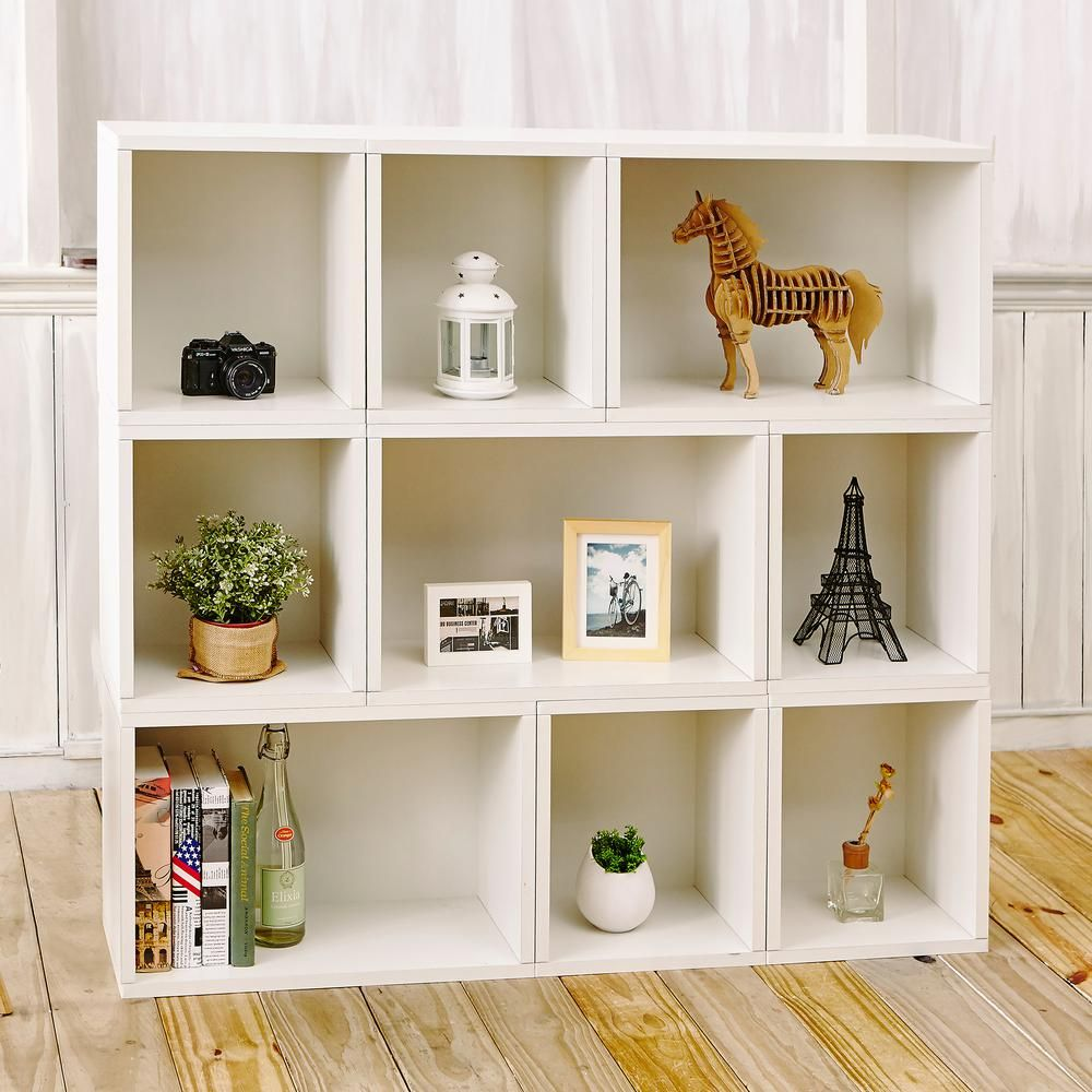 Oxford 9 cubby zboard paperboard stackable modular bookcase storage shelf system in pearl white