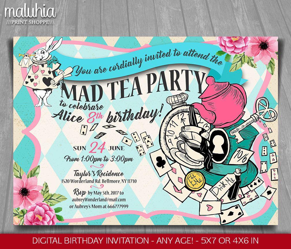 Alice in Wonderland Invitation - Alice in Wonderland tea party ...