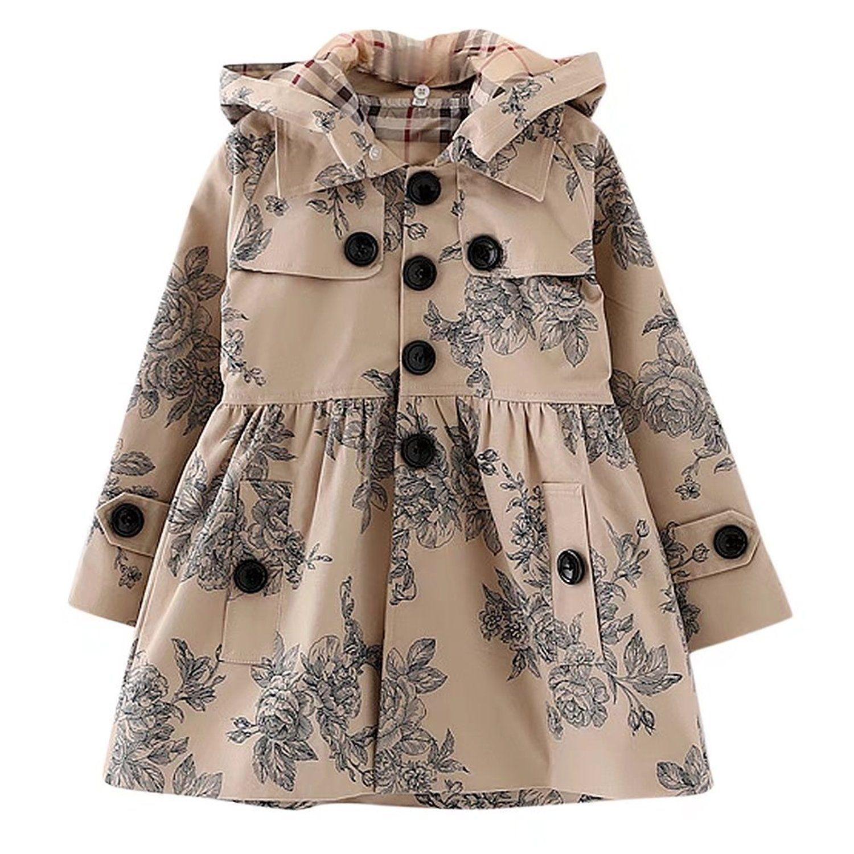 7769e5221 Amazon.com  BINPAW Girl s Hooded Trench Coat  Clothing