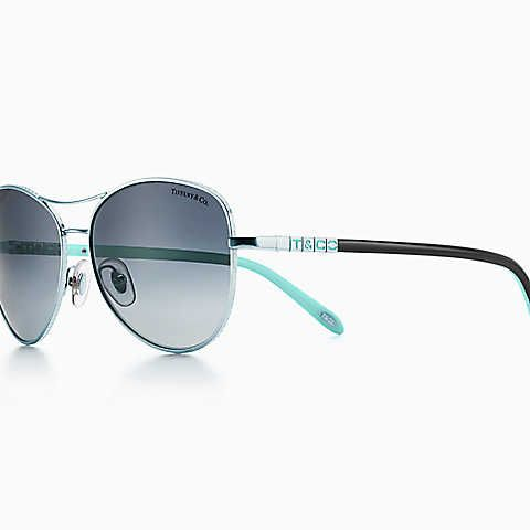 c57b80d889b6 Tiffany Era aviator sunglasses in silver-colored metal with polarized  lenses.