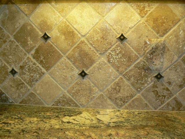 Crema Bordeaux Granite Countertops With Tumbled Travertine Backsplash Would Probably Choose Diferent Color And