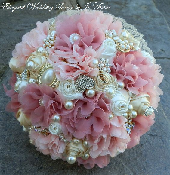 CUSTOM ELEGANT VINTAGE ROSE SATIN BRIDAL BROOCH BOUQUET - $435.00 This listing is for a gorgeous Vintage Inspired Satin/Chiffon Brooch