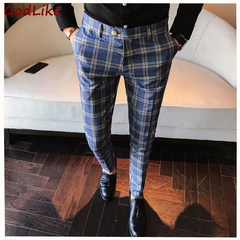 New 100 High Quality Plaid Pant Formal Wedding Mens Slim Fit Suit Pants Fashion C Pantalones De Vestir Hombre Pantalones De Tela Escocesa Pantalones De Vestir