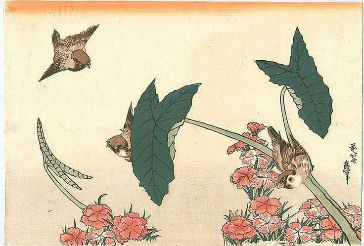 Hokusai Birds Flowers