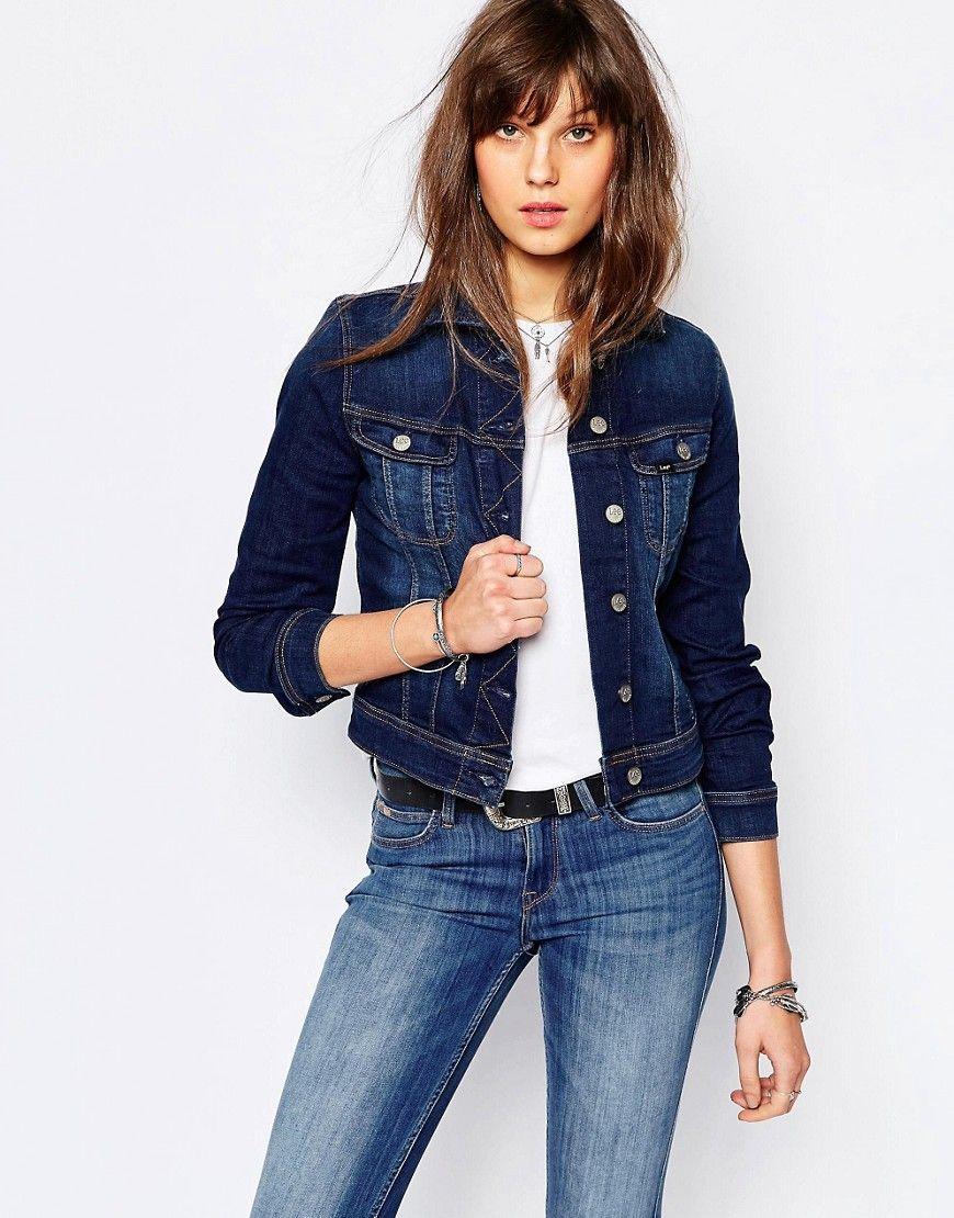 Super cool Lee Rider Slim Denim Jacket - Blue Lee Jeans Denim Jakker til Damer til hverdag og fest