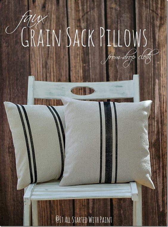 Faux Grain Sack Pillows Decoracion Con Almohadones