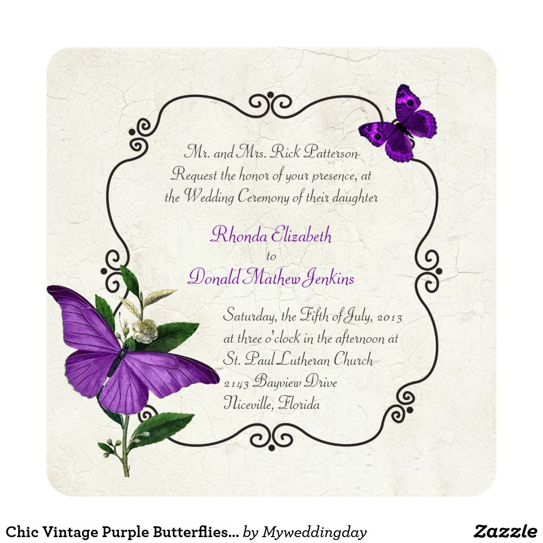 Chic Vintage Purple Butterflies Wedding Invitation | Vintage Wedding ...