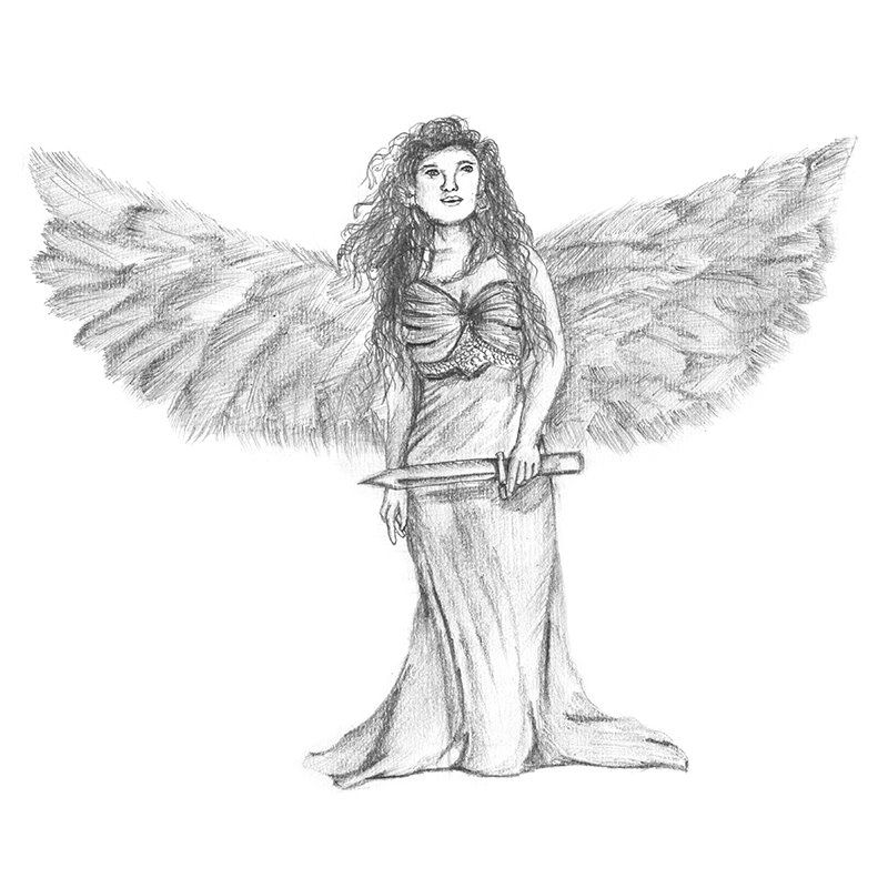 Pencil sketch of angel with sword pencil drawing