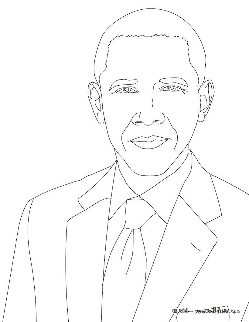 Want To Color Hussein Obama Barack United States Free Current