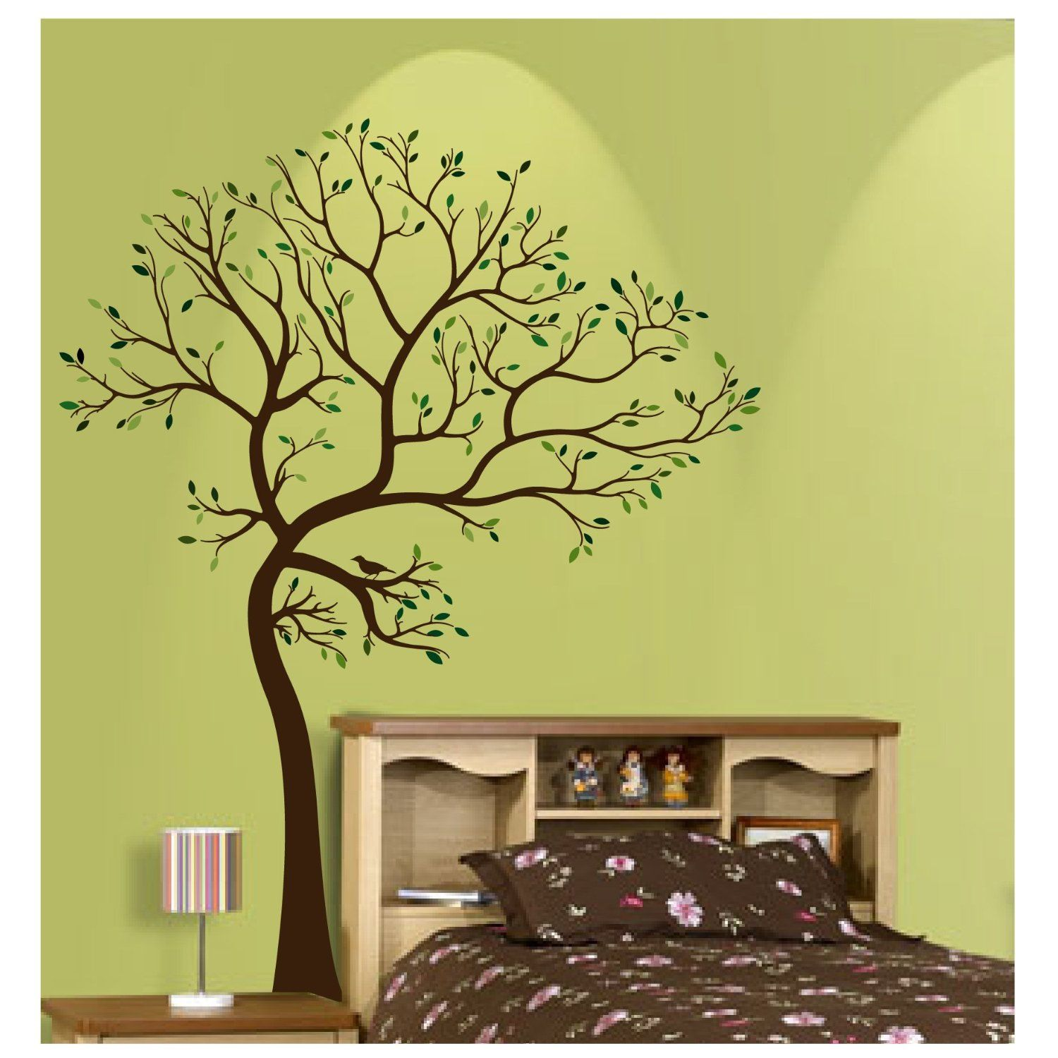 Amazon.com: 6ft Tree Brown & Green with Bird Wall Decal Deco Art ...