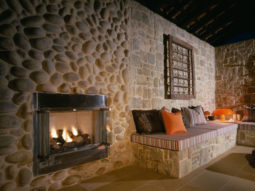 Eggshell pebble fire place PRODUCTS Wall Cladding Pinterest