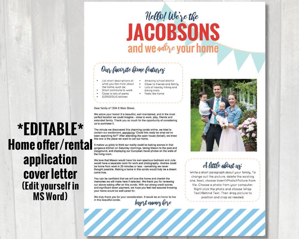 EDITABLE Home offer letter Customizable cover letter for