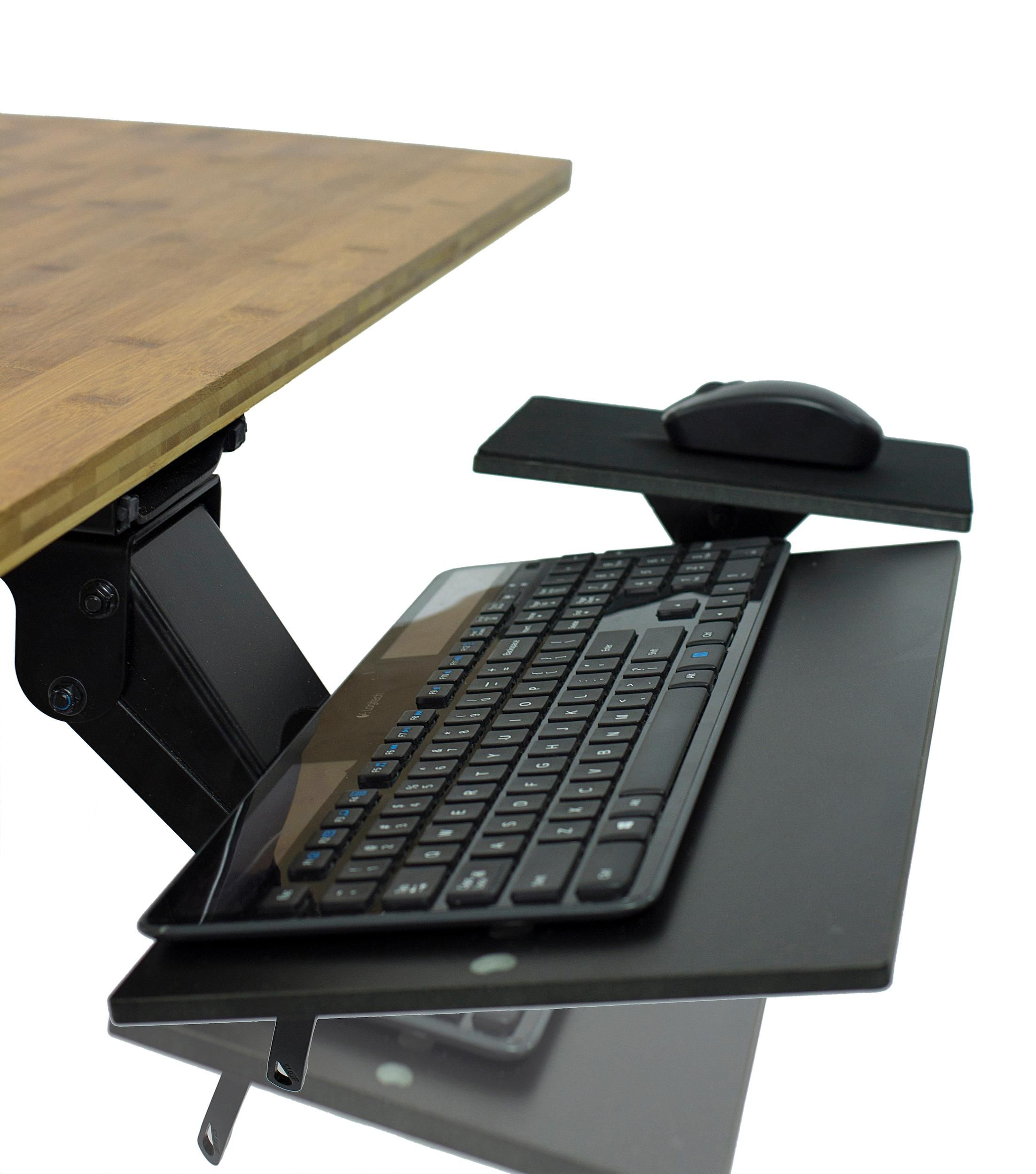 Ergonomic Adjustable Angle Keyboard Tray With Negative Tilt Standing Desk Keyboard Tray Adjustable Standing Desk Ergonomics